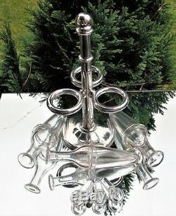 SUPERB RARE VICTORIAN Edward Ker Reid SOLID SILVER 3 GLASS BOTTLE CRUET STAND