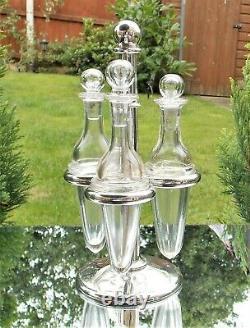 SUPERB RARE VICTORIAN Edward Ker Reid SOLID SILVER GLASS BOTTLE CRUET & STAND