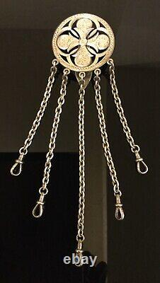 SUPERB RARE c1873 VICTORIAN SOLID SILVER CHATELAINE GEORGE UNITE 80g COLLECTIBLE