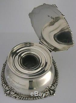 SUPERB SOLID SILVER CRESTED INKWELL 1899 LARGE 550g ENGLISH ANTIQUE