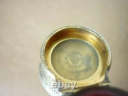 Sampson Mordan Victorian Silver Cranberry Bright Cut Scent Perfume Bottle, Boxed