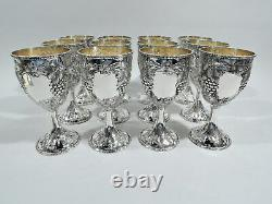 Schultz Goblets 39G Set 12 Baltimore Wine Grape American Sterling Silver