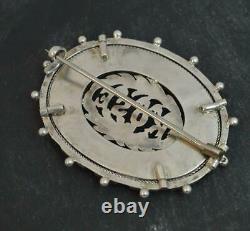 Scottish Victorian Silver Banded Agates & Bloodstone ROSE Brooch