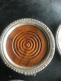 Set of 9 Vintage Sterling Silver and Wood Round Drink Coasters. Rare