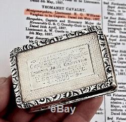 Silver Best Swordsman Trophy Snuff Box. Montgomeryshire Yeomanry Cavalry 1900