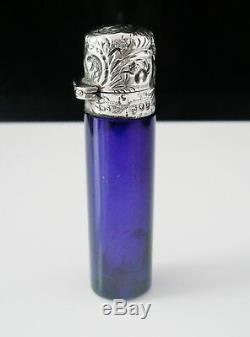 Silver & Cobolt Blue Scent Perfume Bottle, London 1892, William Stringer Mills