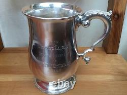 Solid Silver Tankard Pint Mug by Henry Holland 1866 Victorian 925 Sterling 458g