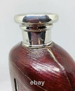 Solid Silver Victorian Leather Bound Glass Hip Flask Dated 1882
