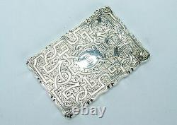 Sterling Silver Card Case Victorian 1857 Antique Engraved English