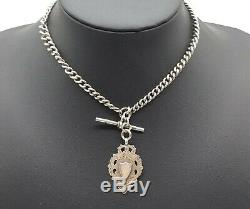 Sterling Silver Graduated Double Albert Watch Chain & Fob BH Britton & Son 1915