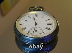 Sterling Silver JW Benson Victorian open face Key Pocket watch 48mm