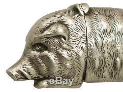 Sterling Silver'Wild Boar' Vesta Case Antique Victorian