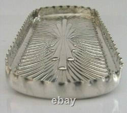 Stunning English Victorian Solid Sterling Silver Pen Tray 1889 Desk Antique