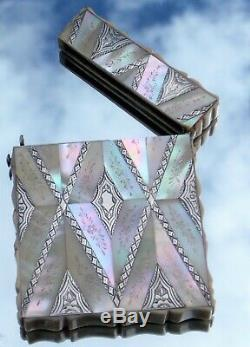 Stunning Fine Quality Victorian Solid Silver & Mother Of Pearl Calling Card Case