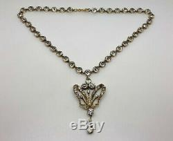 Stunning Georgian/Victorian French Solid Silver Diamond PASTE Pendant Necklace