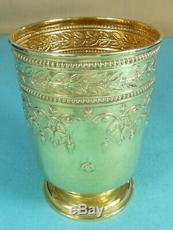 Stunning Large Victorian Sterling Silver Gilt Wine Cup Leaf Berry Garrard 1883