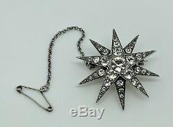 Stunning Rare Antique Victorian 900 Solid Silver Diamond PASTE Starburst Brooch