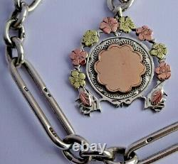 Stunning Victorian solid silver pocket watch albert chain with silver & gold fob