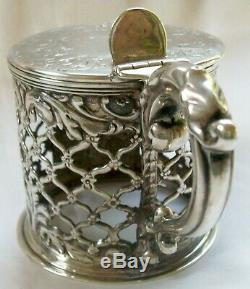 Superb Antique Early Victorian Sterling Silver Mustard Pot Agricultural Award