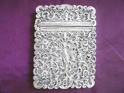 Superb Antique Solid Silver Indian Kutch Very Ornate Card Case C1890 137g