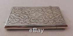 Superb Antique Sterling Silver Card Case George Unite 1866