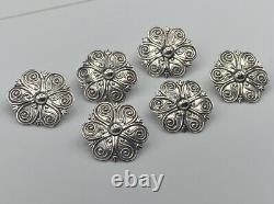 Superb Quality Antique Victorian Scandinavian Solid Silver 6 Button Set