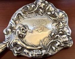 UNGER BROS LADY Sterling Silver VANITY HAND MIRRORVICTORIAN NOUVEAU ANTIQUE