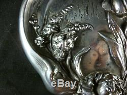 UNGER BROS Sterling Silver VANITY HAND MIRRORVICTORIAN NOUVEAU ANTIQUE