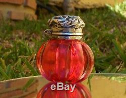 Unique Victorian Solid Silver & Red Pumpkin Design Cut Glass Vinaigrette Bottle