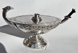 VICTORIAN HANAU Storck & Sinsheimer SOLID SILVER EAGLE'S HEAD ALADDIN CIGAR LAMP