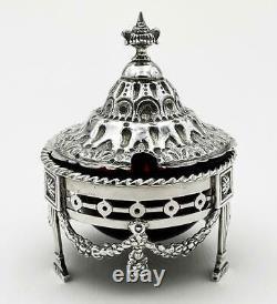 VICTORIAN STERLING SILVER Pierced MUSTARD POT London Import 1893 ETB