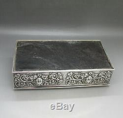 VICTORIAN STUNNING SOLID STERLING SILVER CIGAR / CIGARETTE BOX HW&Co LONDON 1899