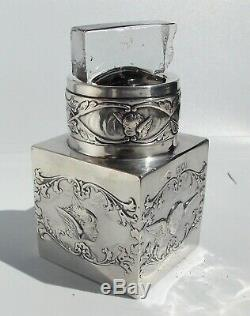 VICTORIAN William Comyns SOLID SILVER MOUNTED REYNOLDS ANGEL SQUARE SCENT BOTTLE