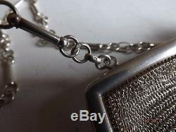 VINTAGE Victorian 1896 925 SILVER MESH CHAIN LINK LADIES PURSE EVENING BAG