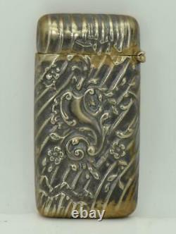 Very rare&unusual Victorian fancy silvered MEMENTO MORI SKULL Vesta Case
