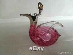 Very rare victorian cranberry glass and hallmarked silver novelty claret jug