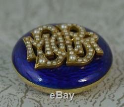 Victorian 15ct Gold Enamel & Pearl Mourning Brooch t0549