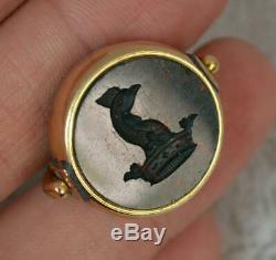 Victorian 18ct Gold Bloodstone Intaglio Pocket Watch Swivel Fob Pendant t0703