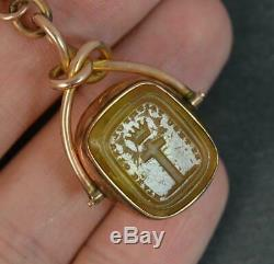 Victorian 9ct Gold Swivel Fob with Tbar Religious Intaglio t0433