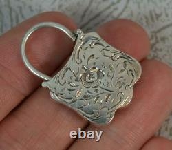 Victorian Agate & Solid Silver Padlock Pendant c1880