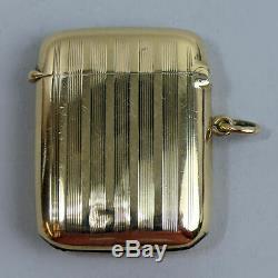 Victorian Antique 9 Ct Gold Vesta Case Match Safe Birm. 1899 17.1 Grams