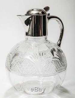 Victorian Antique Cut Glass Claret Jug With Hallmarked 1891 Solid Silver Mount