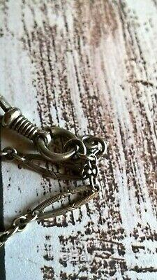 Victorian Antique Solid Silver 800 Large Long Guard Chain / Necklace 1890's