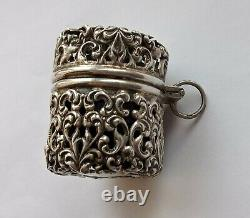 Victorian Antique Solid Silver Chatelaine Pin Cushion Hallmarked