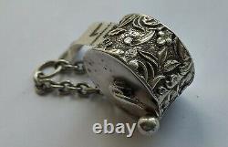 Victorian Antique Solid Silver Chatelaine Tape Measure Birmingham 1897