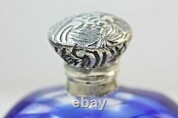 Victorian Bottle Blue Colour Glass overlay Perfume scent bottle Silver Top