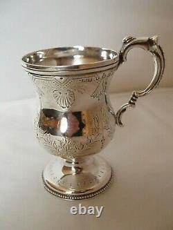 Victorian Child's Christening Mug Sterling Silver Birmingham 1876