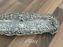 Victorian DHM Heavy Hallmarked Solid Silver Ornate Tray Chester 1831 81.26gr