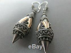 Victorian Etruscan Revival Solid Silver & Gold Drop Earrings. Xeod