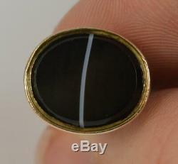 Victorian Gold Cased Banded Agate Pocket Watch Fob Seal Pendant t0416